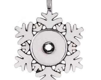 Snowflake Pendant with Snap - Pair with a Snap from our Shop - Compatible with Gingersnaps - Ginger Snaps - Magnolia and Vine - 18-20mm