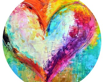 Heart Snap - Rainbow of Color Snap - Compatible with Gingersnaps - - Ginger Snaps -  Magnolia and Vine - Noosa 18-20mm Base - Enamel Snap