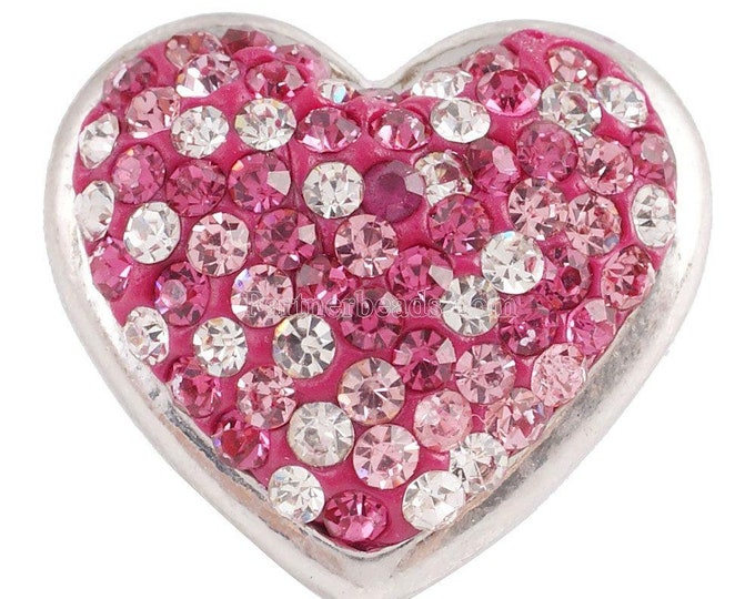 Pink Heart Snap - Pink Rhinestone Heart - Compatible with Gingersnaps - Ginger Snaps -  Magnolia and Vine - Noosa 18-20mm Base - Enamel Snap