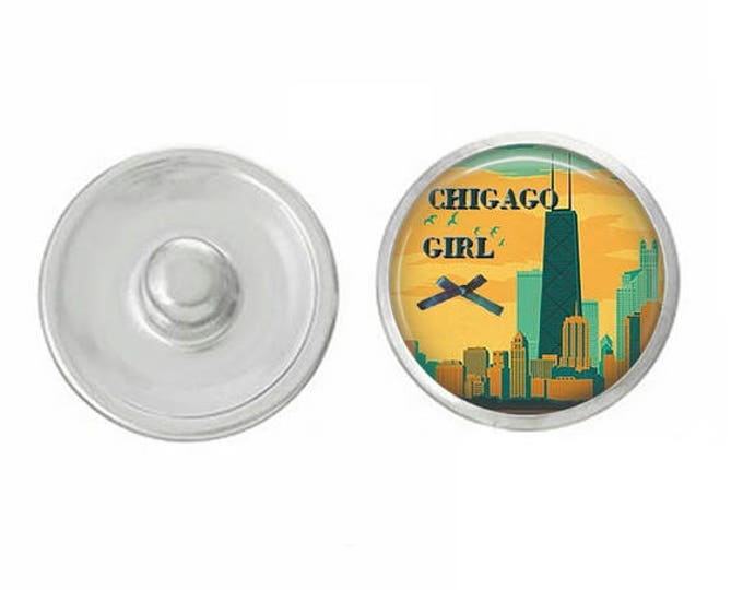 Chicago Girl Snap - Pair with our Base Pieces - Coordinate with 18-20mm Snap Bases - Gingersnaps - Magnolia and Vine - Compatible