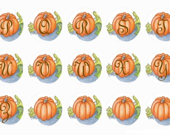 Pumpkin Fall Themed Snap with Your Initial - GingerSnaps - Magnolia and Vine - Ginger Snaps Compatible - 18mm Hand-Pressed Snap - Autumn