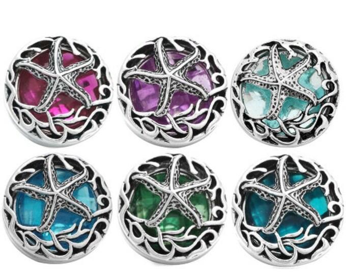 Starfish Sea Themed Interchangeable Snaps - Magenta - Purple - Light Aqua - Sea Blue - Emerald Green - Gingersnaps - Ginger Snaps 18mm
