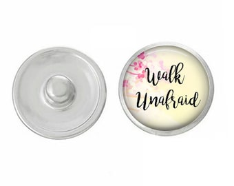 Walk Unafraid Snap - Compatible with Gingersnaps - Ginger Snaps - Magnolia and Vine - Base Pieces - 18-20mm Snaps - Interchangeable Snap
