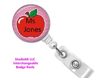 Teacher Badge Reel - Button Badge Reel - Name Badge Holders - Cute Badge Reels - Unique Retractable ID Badge Holder - Studio66 LLC - Custom