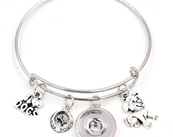 I Love My Dog Bangle Bracelet - Customize with one of Our Snaps - Includes Three Pictured Charms and Your Choice of Snap