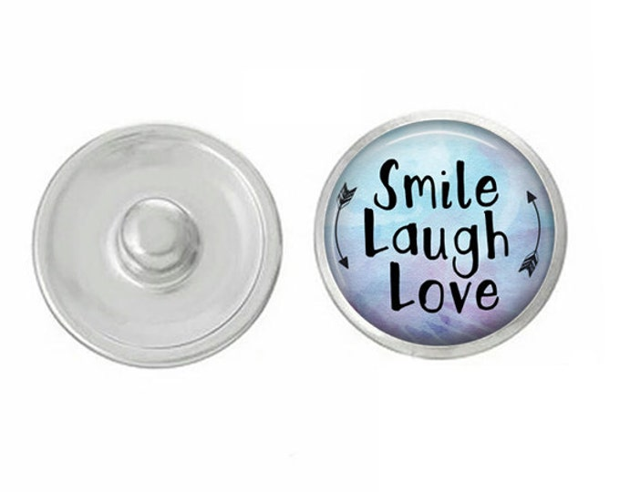 Smile Laugh Love Snap - Compatible with Gingersnaps - Ginger Snaps - Magnolia and Vine - Base Pieces - 18-20mm Snaps - Interchangeable Snap