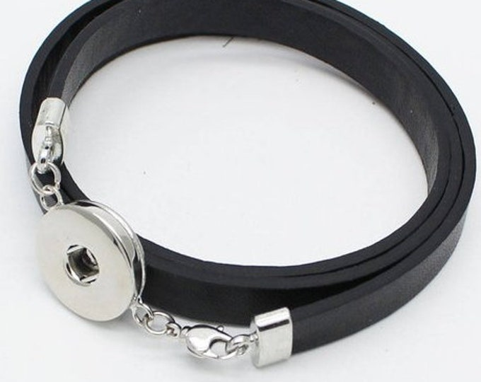 Snap Jewelry Leather Wrap Bracelets - Black with Silver Colored Accent - Light Blue - Coordinate with Gingersnaps and Studio66 LLC Snaps
