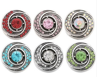 Rhinestone Snaps - Red - Pink - Aurora Borealis - Aqua Blue - Crystal Clear - Lime Green - Swirl Snap - Gingersnaps - Ginger Snaps 18mm