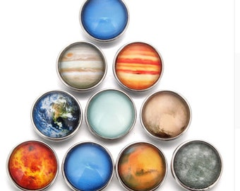 Planet - Earth - Galaxy - Celestial - Snaps - 10 Piece Set - Glow in the Dark - Compatible with Gingersnaps - Magnolia and Vine - 18mm Snaps