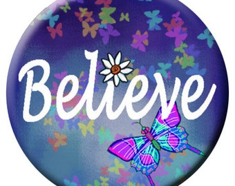 Purple Believe Butterfly Enamel Snap - Compatible with Gingersnaps - - Ginger Snaps -  Magnolia and Vine - Noosa 18-20mm Base - Glass Dome