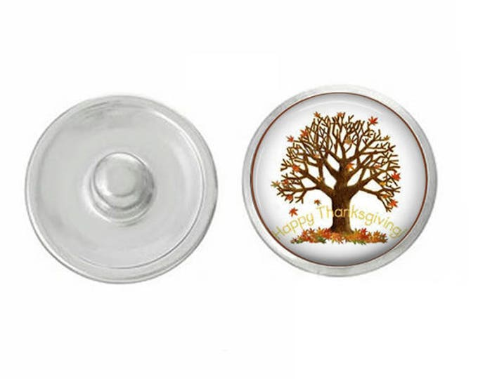 Autumn Tree Snap - Compatible with Studio66 LLC -  Gingersnaps - Magnolia and Vine - Noosa 18-20mm Base - Handpressed Snaps