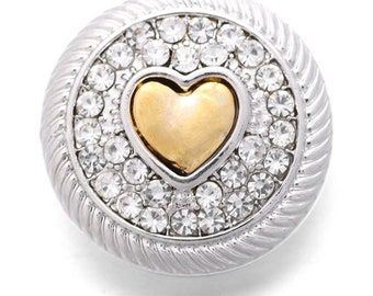 Silver Rhinestone Deco with Gold Heart Snap - Compatible with Ginger Snaps - Magnolia and Vine - GingerSnaps - Noosa Snaps