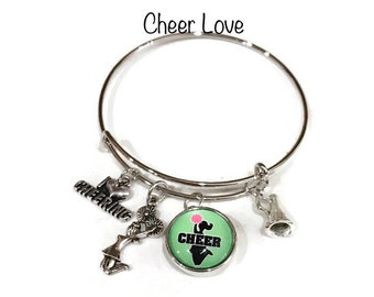 I Love Cheer Bangle Bracelet - Fundraising - School Themed Bangle Bracelet - Customize with Your School Name or Logo