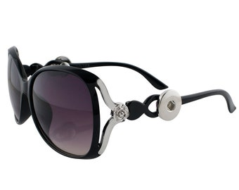 Snap Sunglasses - Black - Interchangeable Snaps Attach to Each Side of Sunglasses - Compatible with Gingersnaps -Magnolia and Vine - 18-20mm