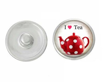I Love Tea Snap - Pair with Our Base Pieces - GingerSnaps or Magnolia and Vine Jewelry - Handpressed Snaps - 18-20mm Snaps