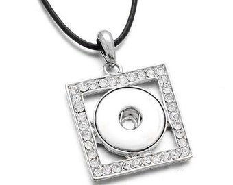 "Silver Rhinestone Square Pendant with Est. I8"" Black Cord and Extender Chain - Pair with One Snap - GingerSnaps - Magnolia and Vine"