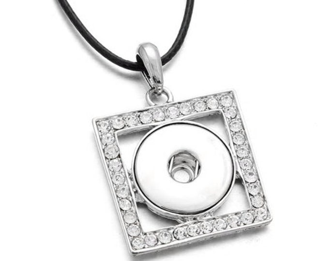 """Silver Rhinestone Square Pendant with Est. I8"""" Black Cord and Extender Chain - Pair with One Snap - GingerSnaps - Magnolia and Vine"""