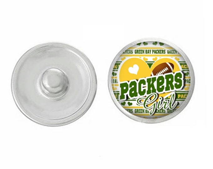 Green Bay Packers Snap - Wisconsin - Packers Girl - 18mm Snap - Gingersnaps - Ginger Snaps - Magnolia and Vine Compatible - Handpressed Snap