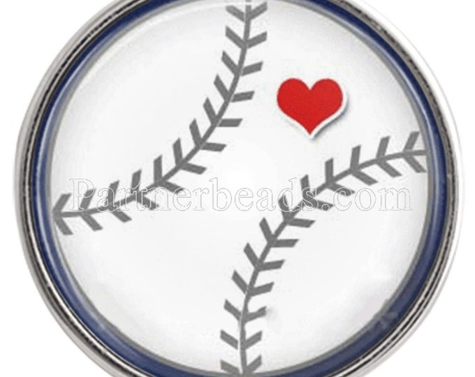 Baseball with Heart Snap - Baseball Love - Noosa Snap - Compatible with Gingersnaps - Magnolia and Vine - Noosa 18-20mm - Glass Dome Snap