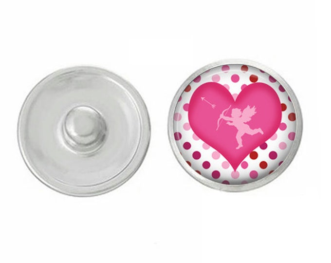 Valentines Day - Pink Heart - Cupid - Love - Handpressed Snap - Coordinates with Magnolia and Vine and Gingersnaps 18mm Standard Snaps