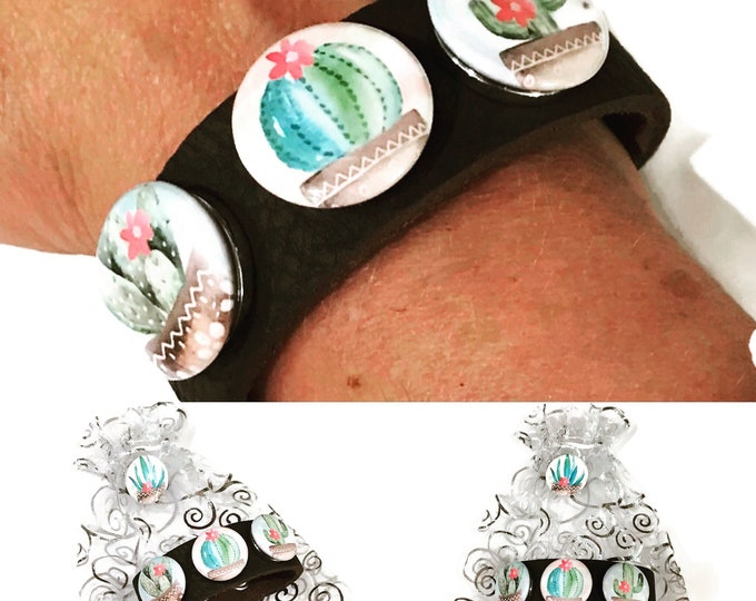 Cactus themed Leather Bracelet - Includes Black Leather Cuff Bracelet - Three Cactus Snaps - And Gift Bag w/Snap (May vary from picture)