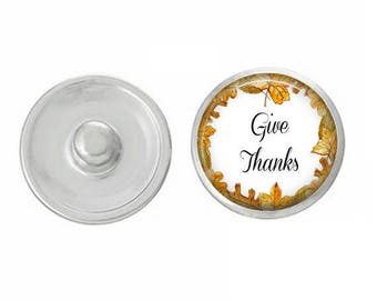 Give Thanks Snap - for Jewelry - Bracelets - Charm Bracelets - Compatible with Gingersnaps - Ginger Snaps - Noosa