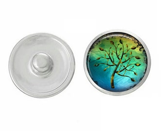 Summer Trees Snap - Compatible with Studio66 LLC -  Gingersnaps - Magnolia and Vine - Noosa 18-20mm Base - Handpressed Snaps