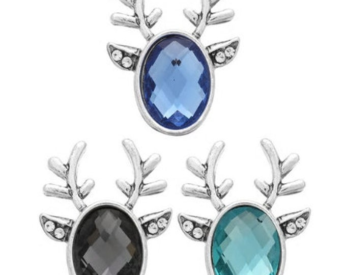Reinder Antler Snap - Gingersnaps - Magnolia and Vine - 18mm Compatible Snaps - Black - Blue - Light Blue - Reindeer Snap Jewelry