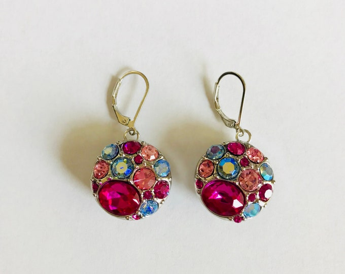Snap Earrings Dangle Pink Light Blue and White Rhinestone Earrings- Compatible with Gingersnaps - Ginger Snaps -  Magnolia and Vine