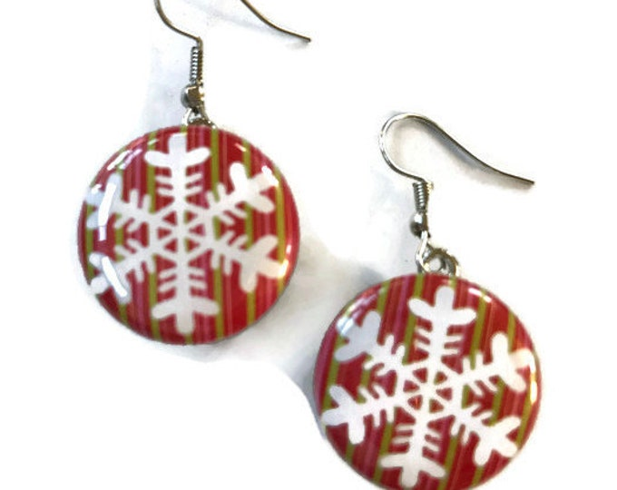 Snap Earrings - French Hook Red and Green Snowflake Snap Earrings- Compatible with Gingersnaps - Ginger Snaps -  Magnolia and Vine