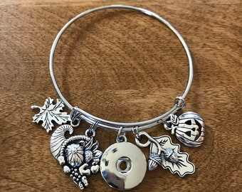 Fall Halloween themed bangle bracelet with snap base. Compatible with ginger snaps and a magnolia and vine snaps. Customize your charms from