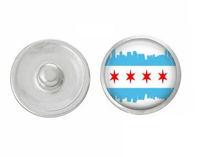 Skyline Chicago Flag Snap - Pair with our Base Pieces - Coordinate with 18-20mm Snap Bases - Gingersnaps - Magnolia and Vine - Compatible
