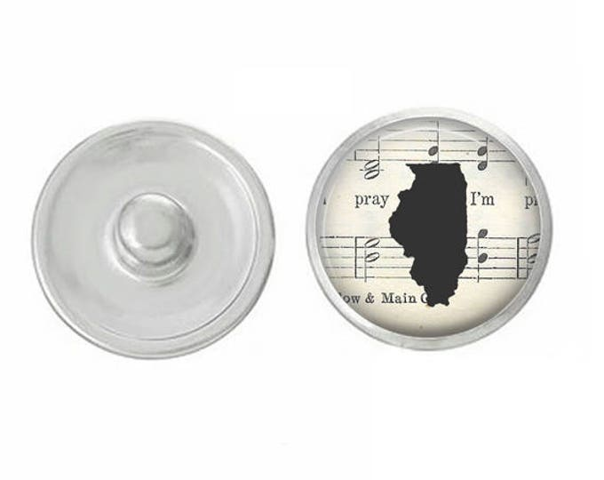 State of Illinois Silhouette Snap Pair with our Base Pieces - Compatiable with GingerSnaps and Magnolia and Vine Pieces - HandPressed Snaps