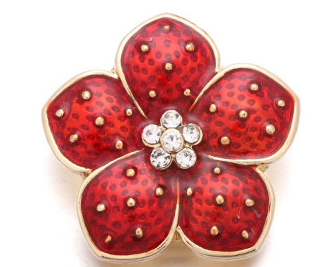 Pointsettia - Red with Gold Trim - Flower - Holiday Snap - Interchangeable Winter Themed 18mm Snap - Compatible with GingerSnaps - 18mm Snap