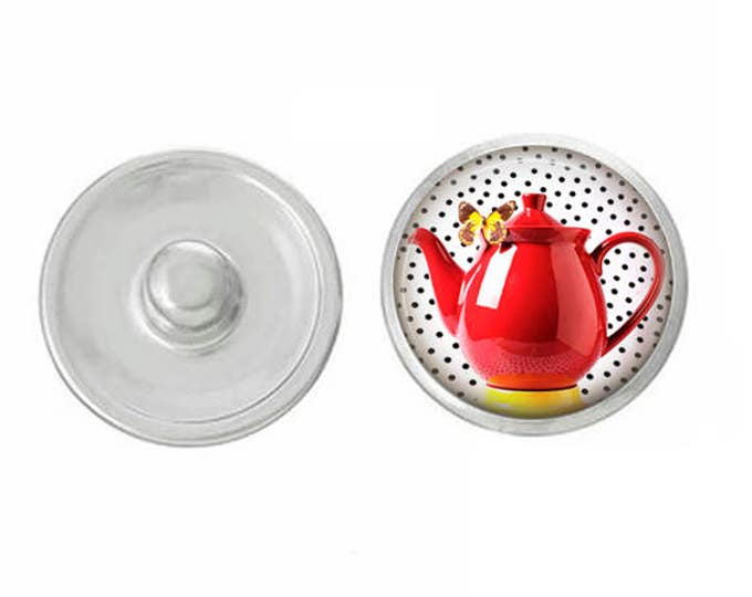 Red Teapot Snap - Pair with Our Base Pieces - GingerSnaps or Magnolia and Vine Jewelry - Handpressed Snaps - 18-20mm Snaps