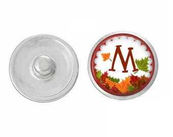 Pick Your Initial - Fall Themed Initial snaps - Pair with Our Base Pieces - Coordinates with 18-20mm GingerSnaps