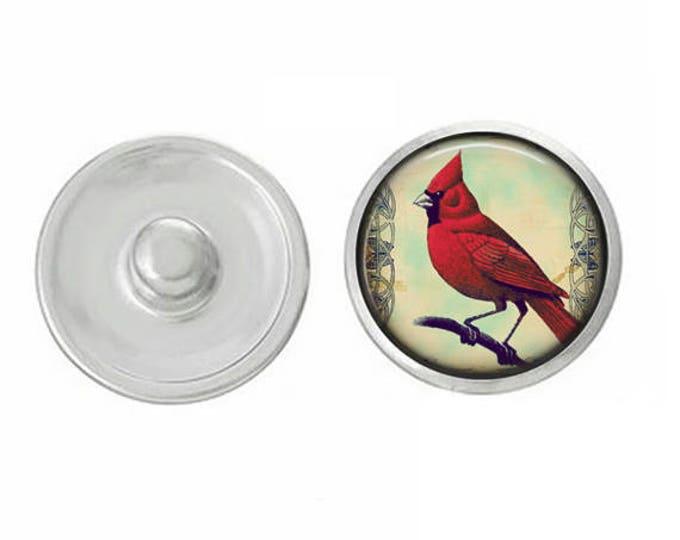 Cardinal Snap - Illinois State Bird Snap - Memorial Red Cardinal Snap - Pair with GingerSnaps and Magnolia Vine and Studio66 LLC Snap Bases