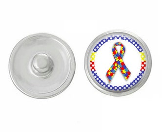 Autism Ribbon - for Jewelry - Bracelets - Charm Bracelets - Compatible with Gingersnaps - Ginger Snaps - Noosa - Chunk - 18mm Snap Jewelry