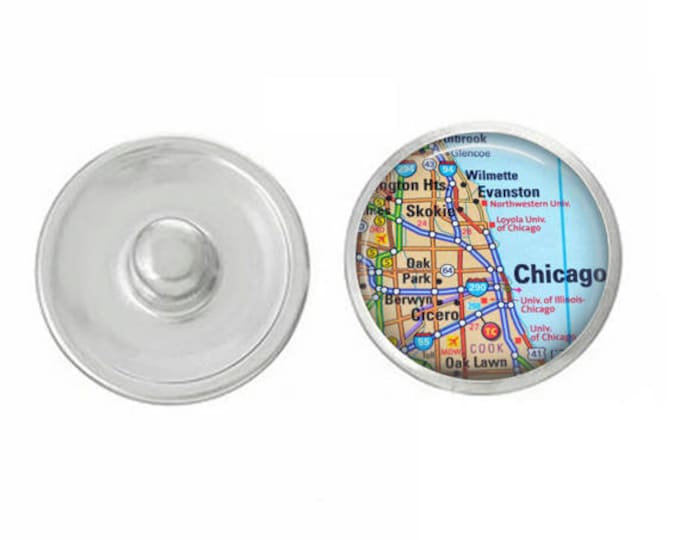 Map of Chicago Snap - Pair with our Base Pieces - Coordinate with 18-20mm Snap Bases - Gingersnaps - Magnolia and Vine - Compatible