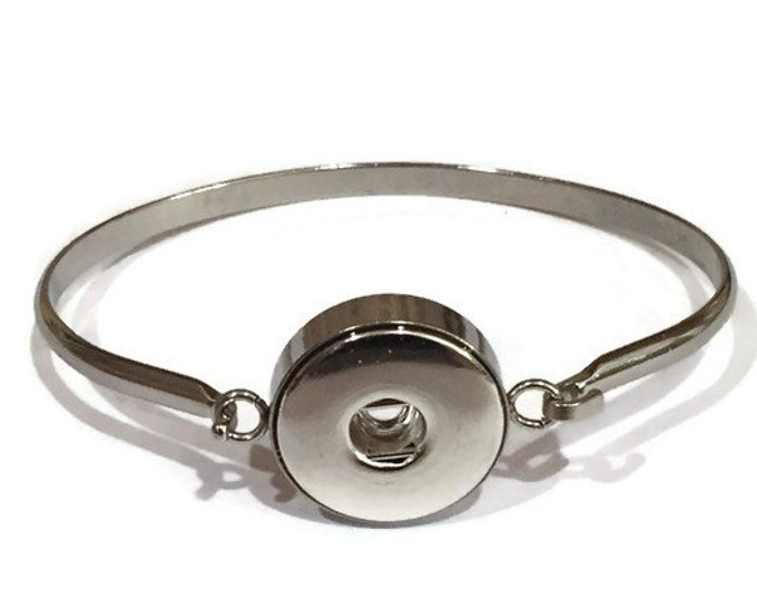 Stainless Steel Snap Cuff Bracelet - Customise with One of Our Snaps or a Photo Snap - Compatible with GingerSnaps - Magnolia and Vine
