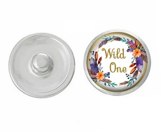 Wild One Snap - Compatible with Gingersnaps - Ginger Snaps - Magnolia and Vine - Base Pieces - 18-20mm Snaps - Interchangeable Snap - Snap