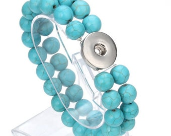 Turquoise Style Natural Stone Two-Strand Bracelet - Pairs with Studio66 LLC - Gingersnaps and Magnolia and Vine 18mm Snaps - Stunning