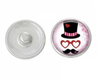 Valentines Day - Hat and Mustache - Cupid - Love - Handpressed Snap - Coordinates with Magnolia and Vine and Gingersnaps 18mm Standard Snaps