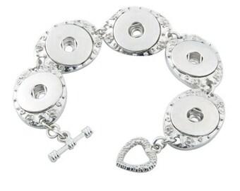 Five Bezel Snap Bracelet - Gingersnaps - Ginger Snaps - Magnolia and Vine - 18mm Snap Compatible - Adjustable Bracelet with Toggle Clasp