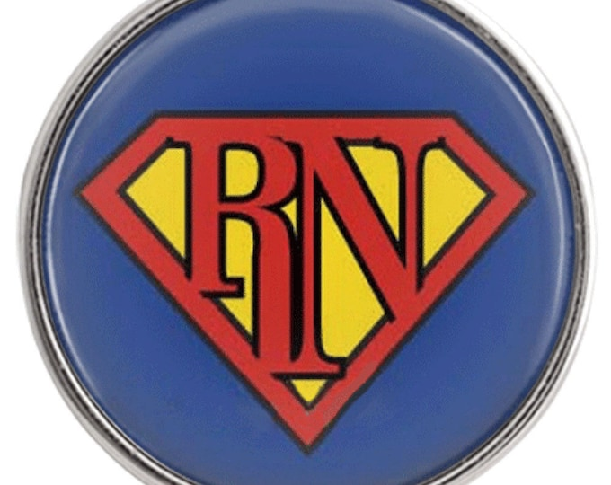 Super RN Nurse Snap - Ginger Snaps - Noosa Snap - Compatible with Gingersnaps - Magnolia and Vine - Noosa 18-20mm - Glass Dome Snap - Gift