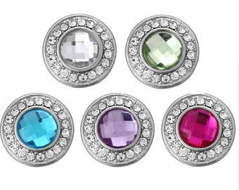 Colorful Round Rhinestone Snaps - Magenta - Peridot - Aqua - Purple - Crystal Clear - Gingersnaps - Ginger Snaps 18mm - Magnolia and Vine