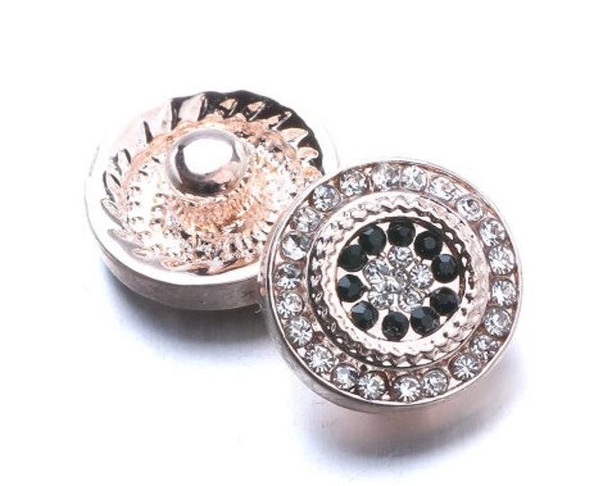 12mm Mini Petite Rose Gold Rhinestone Snap - Coordinates with 12mm Snap Jewelry - Petite Mini-Snap Jewelry - Petite Mini GingerSnaps