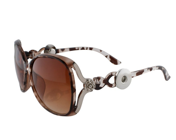 Snap Sunglasses - Brown Animal Print - Interchangeable Snaps Attach to Each Side of Sunglasses - Compatible with Gingersnaps Magnolia Vine