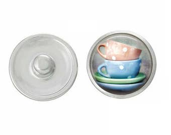Blue and Peach Teacups Snap - Pair with Our Base Pieces - GingerSnaps or Magnolia and Vine Jewelry - Handpressed Snaps - 18-20mm Snaps