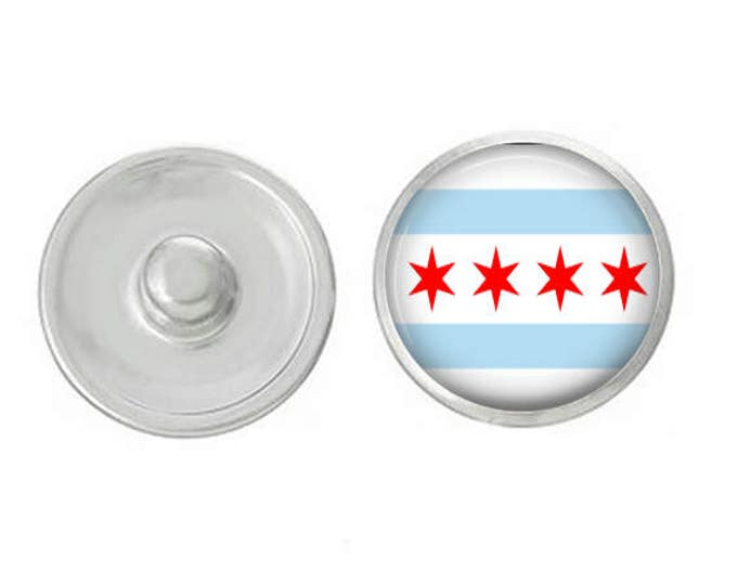 Flag of Chicago Snap - Pair with Our Bas Pieces - Coordinate with 18-20mm Snaps - GingerSnaps - Magnolia and Vine - Base Pieces